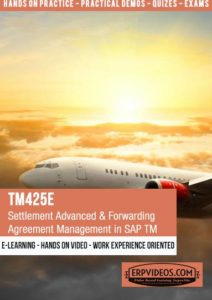 TM425E - Settlement Advanced & Forwarding Agreement Management in SAP Transportation Management